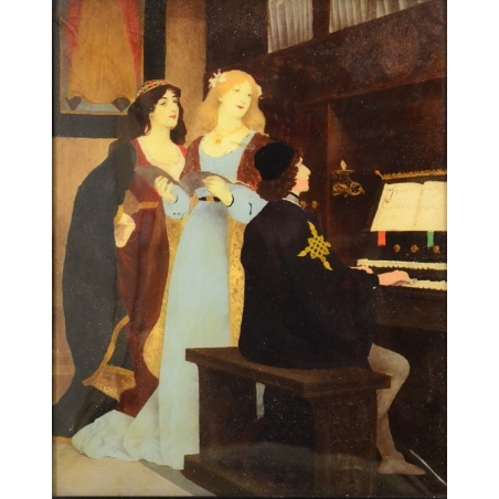 """Art Nouveau Painting """"Le jeune pianiste"""" (unknown)"""