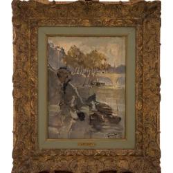 """Pierre Grisot (1911-1995) """"Jeune femme au bord de la Seine"""", 1926"""