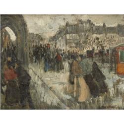 """Louis Thevenet (1874-1930), """"La gare du Midi sous la pluie"""""""