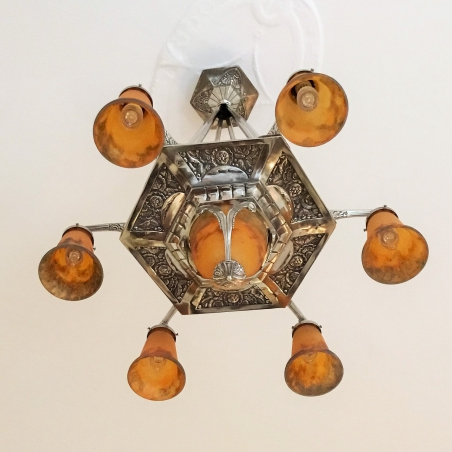 French Art Déco Ceiling Lamp, MULLER FRÈRES
