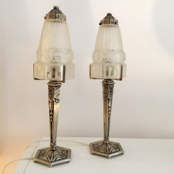 Pair of Small French Art Déco Table Lamps Tischleuchten