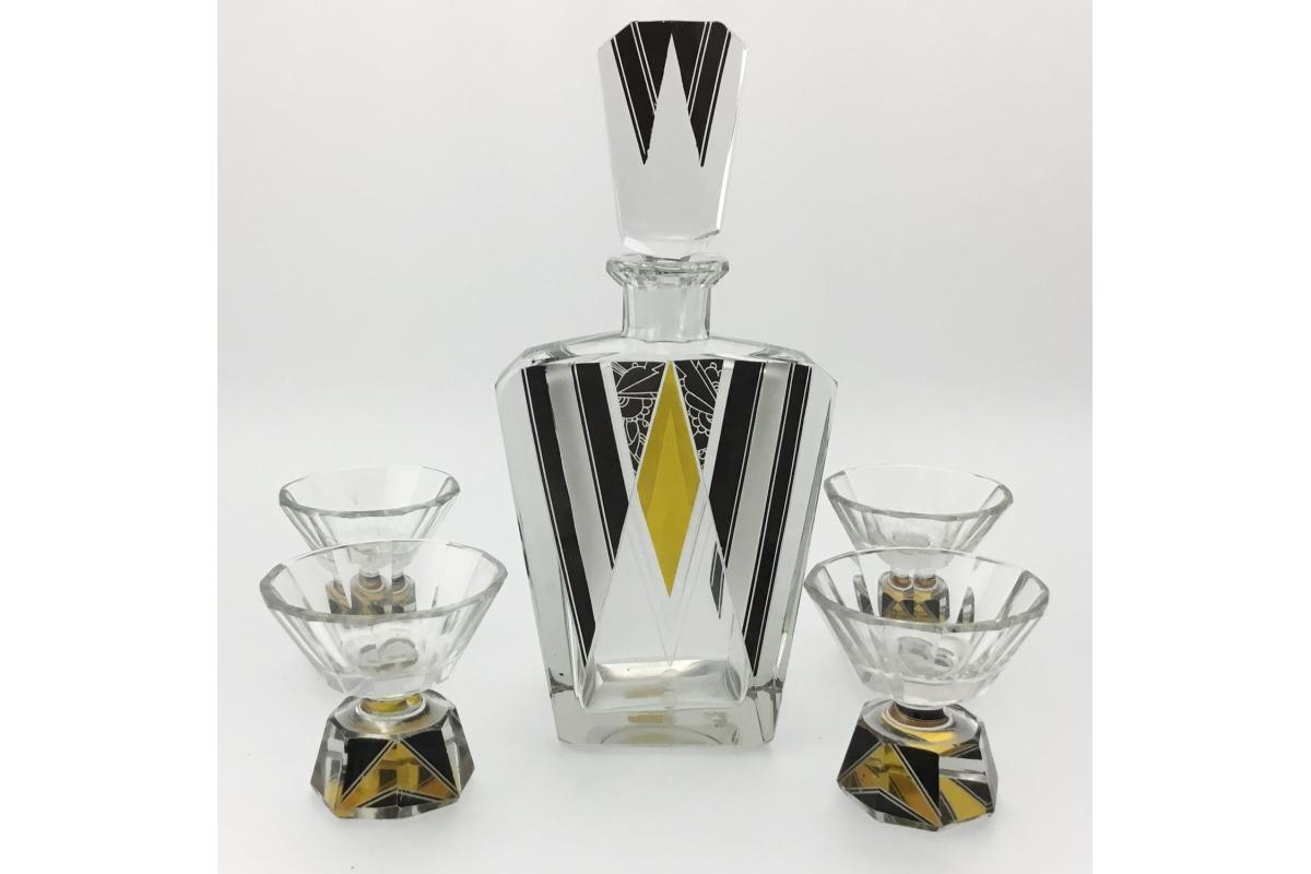 Art Déco Liqueur Service in crystal, Bohemia