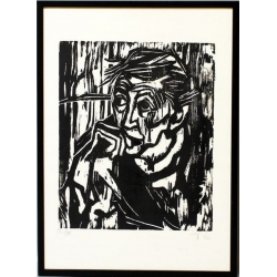 """Heinz Tetzner (1920 - 2007), Gravure sur bois """"Mutter"""", 1980"""
