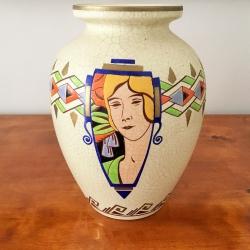 Art Déco Faience Vase Orchies, France