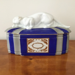 SOLD - Art Déco Porcelain Box with Panther, Fraureuth