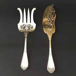 Asparagus Serving Cutlery Art Nouveau in silver and vermeil