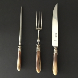 Carving set 3-pieces, Tilquin, Belgium, late 19th