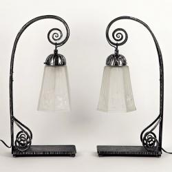 Paire de Lampes de Table Art Déco, MULLER FRÈRES