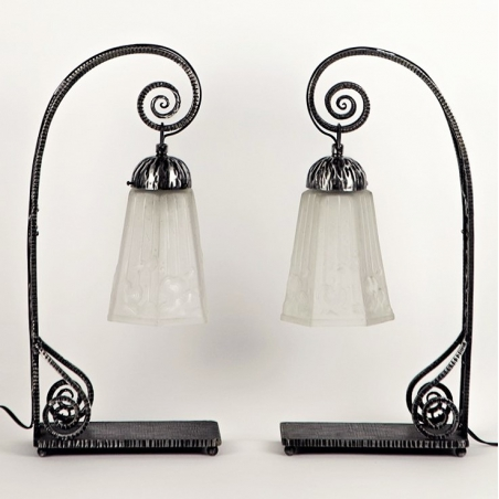 Pair of Art Déco Table Lamps, MULLER FRÈRES