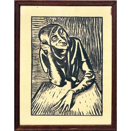 """Andreas P. Weber (1893–1980) """"An Tisch sitzender Mann"""""""