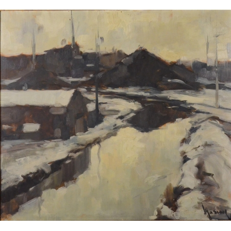 """Albert MASCAUX (1900-1963) """"Paysage sous la neige"""""""